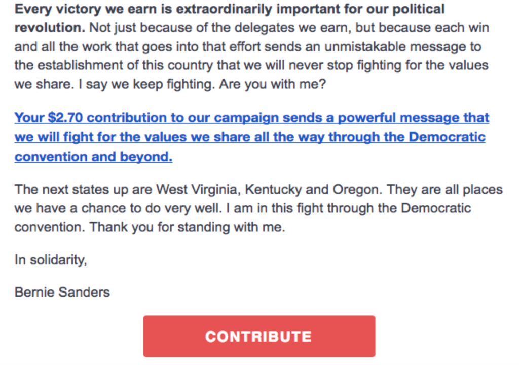 Email used by the Sanders Campaign after HaystaqDNA Fundraising Models
